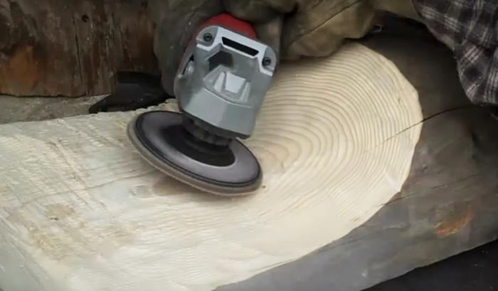 szlifowanie drewna szlifierką kątową